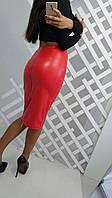 Женская кожаная юбка миди е-3411153