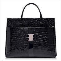 Большая женская сумка рептилия черная