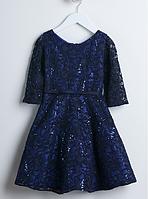 Нарядное платье с блёстками и рукавом 3/4  3-15 лет  (2 цвета)