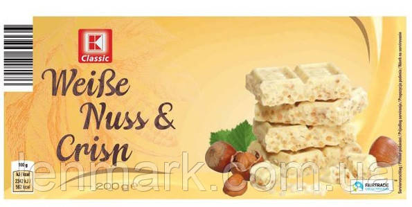 Белый шоколад K-Classic   Weibe Nutss & Crisp с  орехами и криспами, 200 г