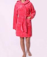 Уютный халат с теплой махры на запах в персиковом цвете