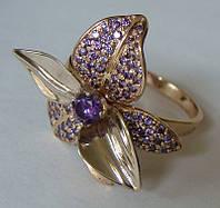 Кольцо КЕ474МД, золото 585 проба, кубический цирконий.