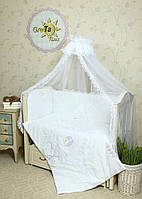 """Двухсторонний комплект постельного белья для новорожденных """"Непоседа"""" 7 предметов:"""