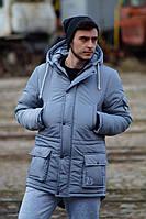 Куртка парка мужская зимняя светло-синяя RD-16