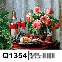 """Q1354 """"Натюрморт с сыром и красным вином"""" Роспись по номерам на холсте 40х50см"""