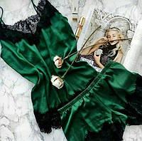 Женская пижама из шелка майка и шорты