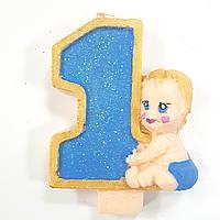 Свеча цифра 1 годик мальчик