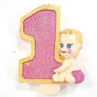 Свеча цифра 1 годик девочка