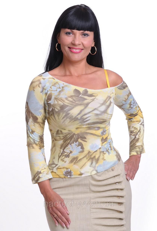 Блузочка футболка кофточка трикотажная ассеметрия на одно плече.