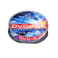 Диск TITANUM DVD-R  4,7 GB X16 - CAKE BOX 10