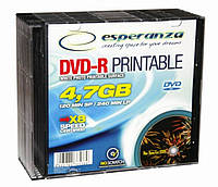 Диск ESPERANZA DVD-R 4,7GB X16 PRINTABLE - тонкий CD бокс 10 шт