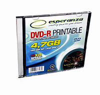 Диск ESPERANZA DVD-R 4,7GB X16 PRINTABLE - тонкий CD бокс 1 шт