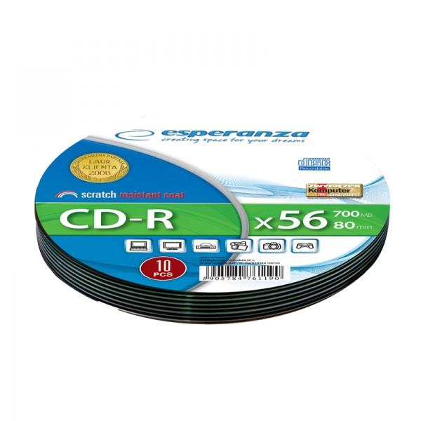 Диск ESPERANZA CD-R  серебристый   - мягкая упаковка 10 шт..