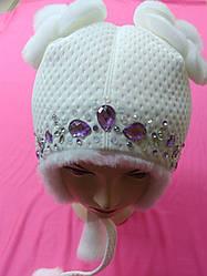 Зимние шапки для девочек серые, малинка р.46-48 Украина