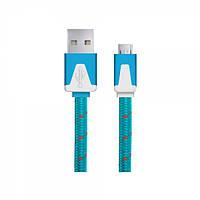 Кабель ESPERANZA MICRO USB 2.0 A-B M/M 1.0M плоский переплет синий