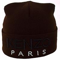 Вязанная  шапка с вышивкой двойная с логотипом цвет коричневый