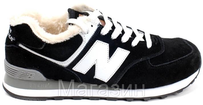 c64c7bf4a3b7 Мужские зимние кроссовки New Balance 574 Winter, Нью Баланс с мехом черные  - Магазин обуви