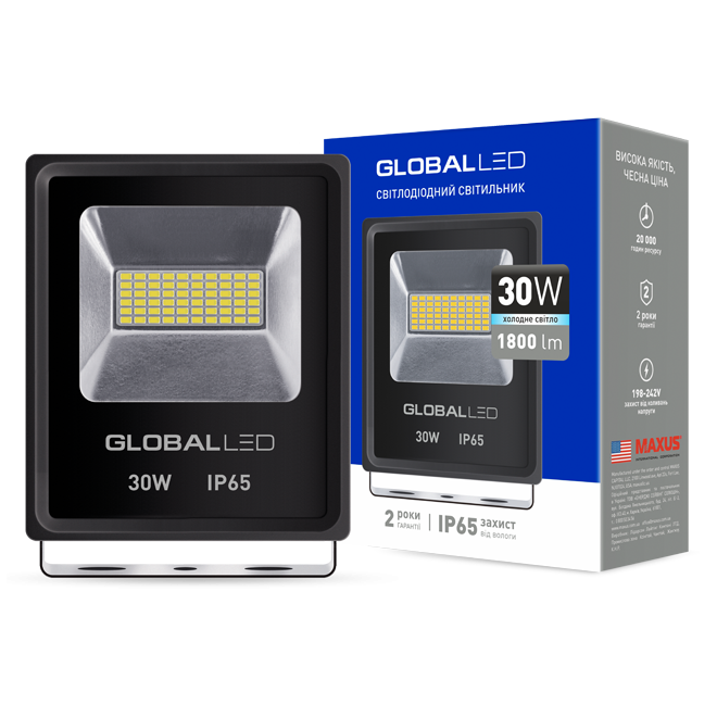 LED прожектор GLOBAL FLOOD LIGHT 30W 5000K холодный свет
