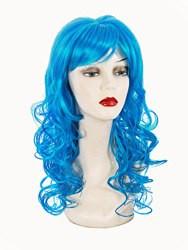 Карнавальный парик Голубой длинный - локоны.
