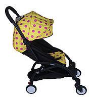 Прогулочная коляска YOYA Желтая в розовый горошек