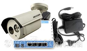 Комплект уличной IP камеры видеонаблюдения Hikvision DS-2CD1202-I3 (4мм) с БП,роутером и облачным сервисом