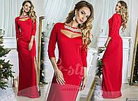 Стильное красное  платье в пол со стразами. Арт-8976/65