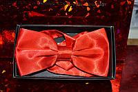 Однотонная красная бабочка-галстук.