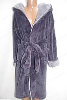 Махровый детский халат фиолетовый