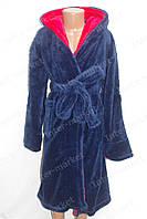 Махровый детский халат темно-синий/ красный  164р