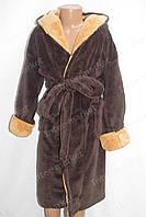 Махровый детский халат коричневый