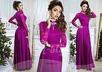 Нарядное длинное фиолетовое платье с рукавами из гипюра и брошью со стразами. Арт-8977/65