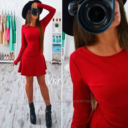Короткое платье с юбкой колоколом Красный, фото 2