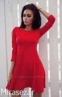 Короткое платье с юбкой-клеш Красное Черное