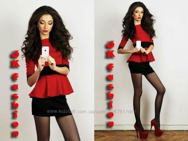 Платье мини с баской Красно-черное