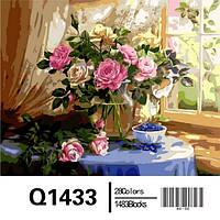 """Q1433 """"Натюрморт с розами и черникой"""" Роспись по номерам на холсте 40х50см"""