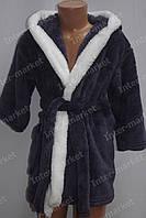 """Махровий дитячий халат """"Зайчик"""" з вушками темно синій, фото 1"""