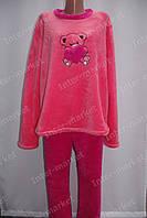 Теплая женская велюровая пижама коралловая/розовая