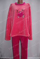 Тепла жіноча махрова піжама коралова/рожева