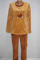 Тепла жіноча махрова піжама коричнева, фото 1