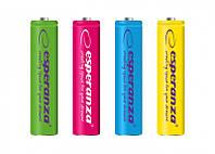 Аккумуляторы ESPERANZA NI-MH AAA 1000MAH 4шт.. MIX цветной