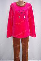 Теплая женская велюровая пижама красная/коричневая