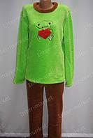 Теплая женская велюровая пижама зеленая/коричневая