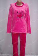 Теплая женская махровая пижама розовая/красная, фото 1