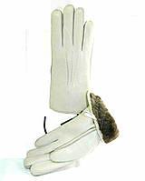 Перчатки кожаные женские из кожи оленя на цигейке