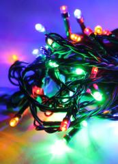 Гірлянда-Лінза світлодіодна чорна нитка на 100 LED Mix 7,3 м новорічна гірлянда на ялинку