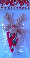 Новогодняя мягкая игрушка Олень в шапке- подвеска 90628-PN Китай