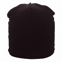 Вязанная шапка на флисе на заклепке  цвет черный