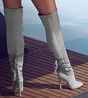 Женские ботфорты серые на шпильке