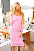 Женское трикотажное платье резинка в рубчик
