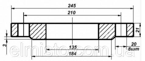 Габаритні розміри фланців Ду125 сталевих плоских приварних